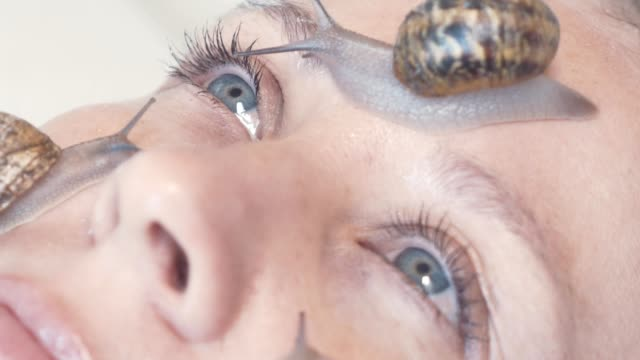 a close-up of snails on a female face. snail slime rejuvenates the skin - facial stock videos & royalty-free footage