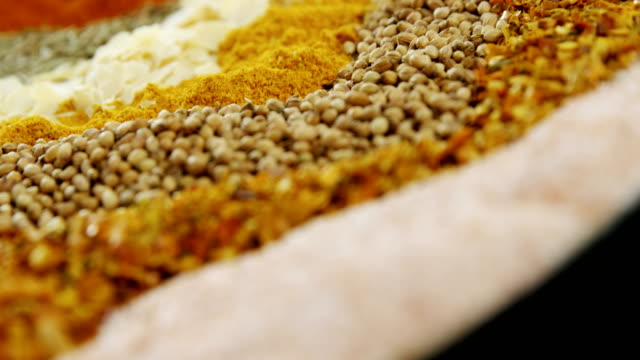 Close-up of spices 4k video