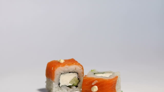 Close-up of sushi on a white background. video