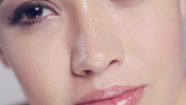 Closeup of the face of a beautiful young woman video