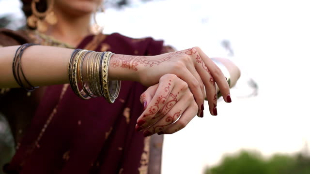 close-up of the hands painted with mehendi. - wedding fashion stock videos and b-roll footage