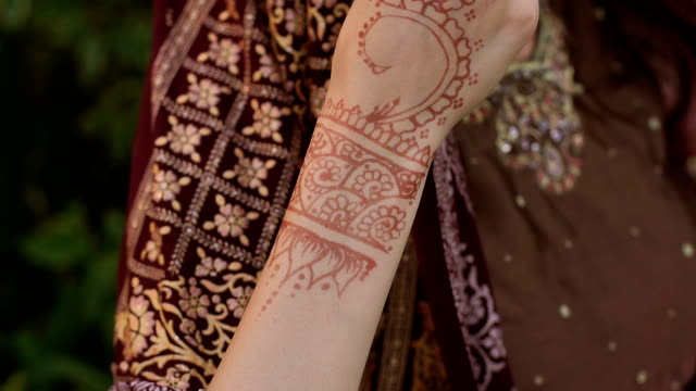 Close-up of the hands painted with mehendi. Beautiful young Indian girl wearing a Sari with a tattoo on the hands in the Park outdoors. Close-up of the hands painted with mehendi. sari stock videos & royalty-free footage