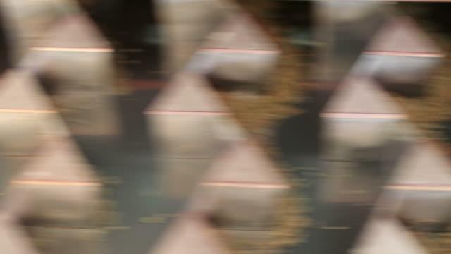 närbild av rörelsen av paddy utsäde separation. - skalhylsa bildbanksvideor och videomaterial från bakom kulisserna
