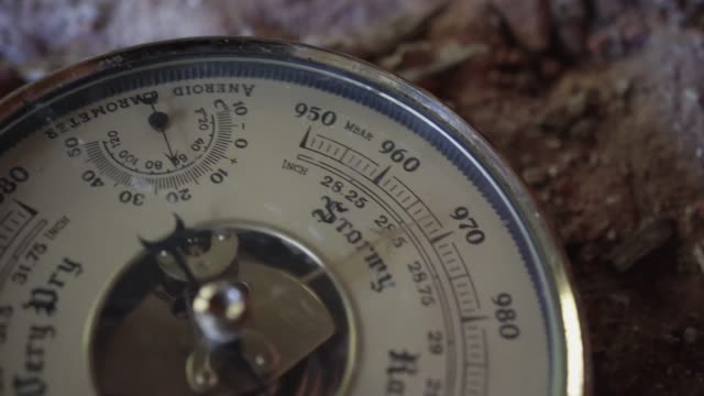Close-up of the old analog barometer. Humidity measurement. Air humidity.