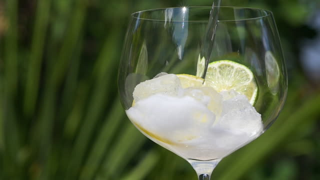 Close-up of tonic water pouring over ice, lemon and lime. Slow motion tonic water stock videos & royalty-free footage