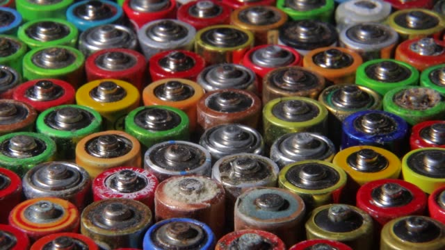 Close-up of used AA batteries. Finger batteries. Harmful effects of batteries on the nature of the planet Earth.