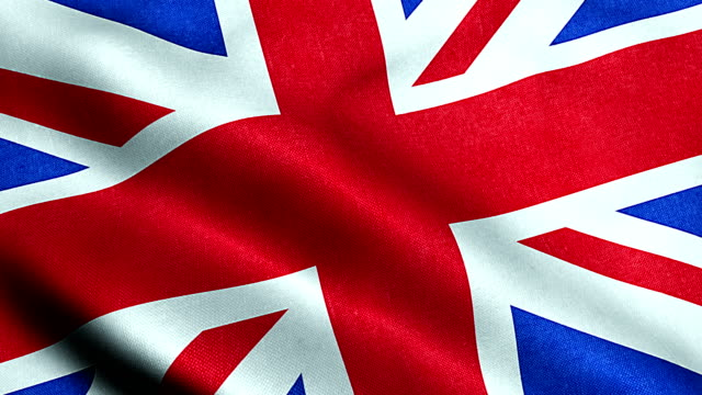 closeup of waving flag of union jack, uk great britain england symbol video