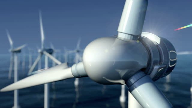 close-up of wind turbines at sea #1 - turbina a vento video stock e b–roll
