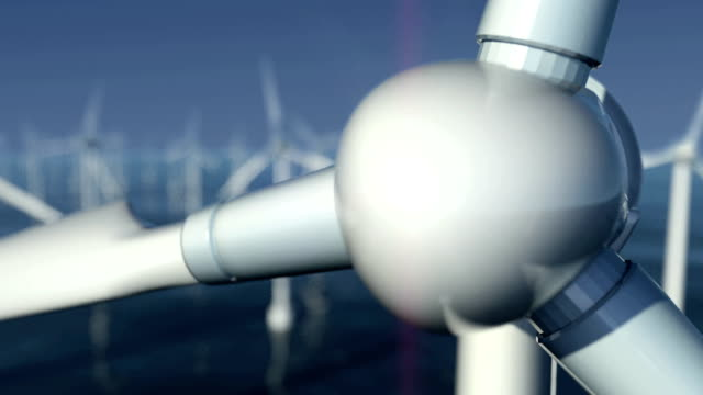 close-up of wind turbines at sea #2 - lama oggetto creato dall'uomo video stock e b–roll