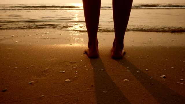 Closeup of woman's feet walking on the beach at sunrise video