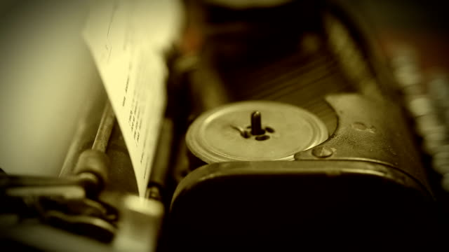 Close-up of working typewriter machine, vintage object collection, retro video