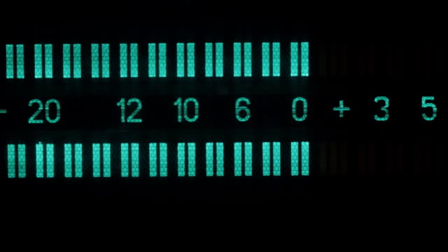 close-up, old display, two stripes, signal level lines. - analogico video stock e b–roll