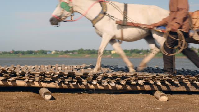 vídeos de stock e filmes b-roll de close-up on horse carts carrying bricks across bamboo bridge/flooring placed over sand along the riverside - puxar