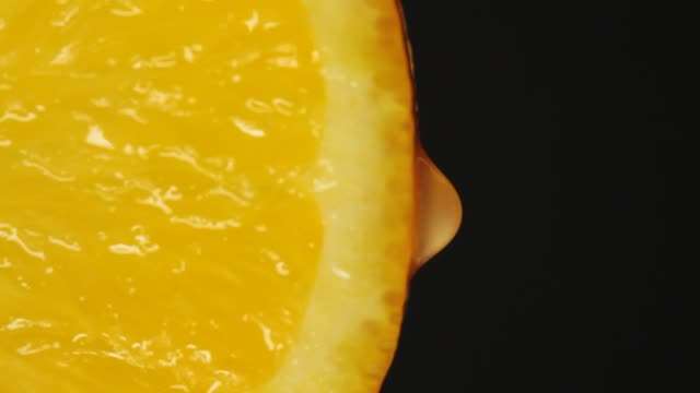 Close-up orange slice video