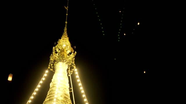 Close-up Pagoda and Lantern hot air in Thailand