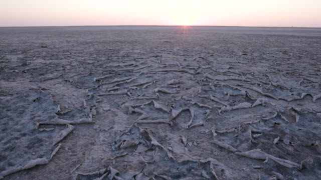 Close-up panning view of large areas of dry cracked mud video