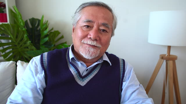 カメラを見ている幸せな先輩男性のクローズアップポートレート。カメラを見ているペンシブな老いたひげの男の肖像画をクローズアップ。彼は、懐かしさに満ちた目をしている間、誠実で� - スタジオ 日本人点の映像素材/bロール