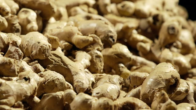 Close-up : Raw Organic Ginger root over black background video