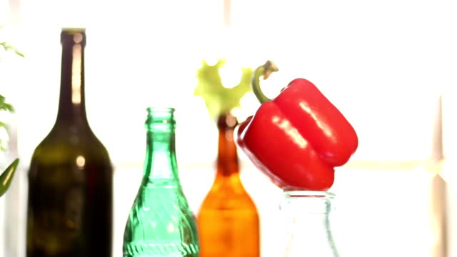 close-up red paprika on glass bottle - paprica video stock e b–roll