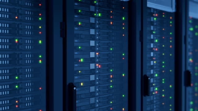 Close-up Servers in Modern DataCenter. Cloud Computing Data Storage. Heavy 3d Rendering and Complex Calculations. Looped 3d animation.