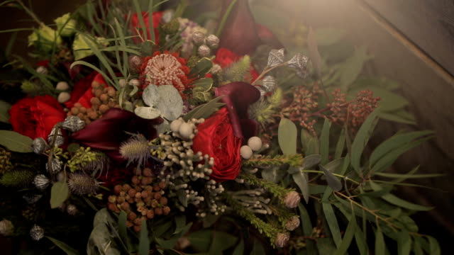 Close-up shooting of bouquet wedding day indoors video