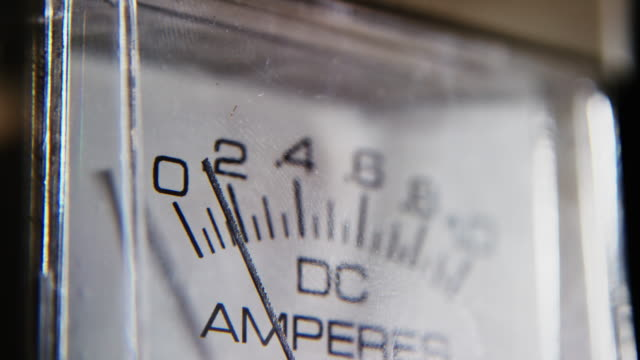 Close-Up Shot of a Ammeter Measuring an Electrical Current in Amperes