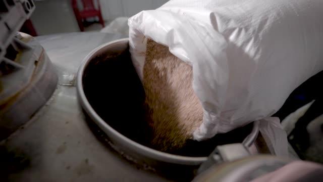 stockvideo's en b-roll-footage met close-up shot van een brouwer gieten verse tarwe gerst in een vat in een brewhouse - milkshake