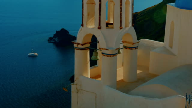 Close-up Shot of a Traditional Blue Dome Cycladic Mediterranean Church video