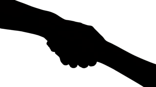 Closeup shot of hand shake man and woman in silhouette, Black and white video