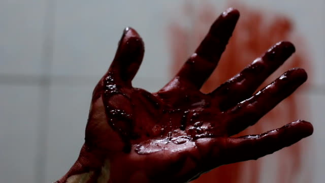 Closeup shot of Murderer's shows bloody hands video