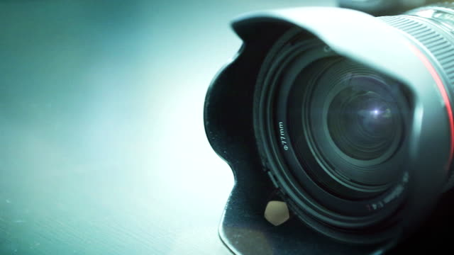 Close-up shot of professional camera. HD 1080. video