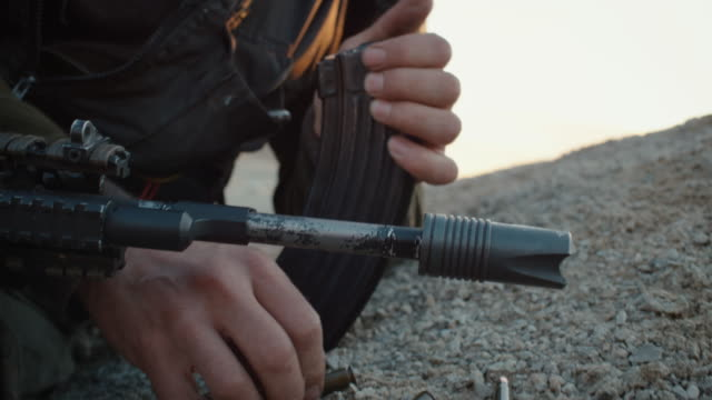 Close-up Shot of Reloading Assault Riffle video