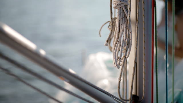 Closeup shot of the rope on the belaying cleat yacht video