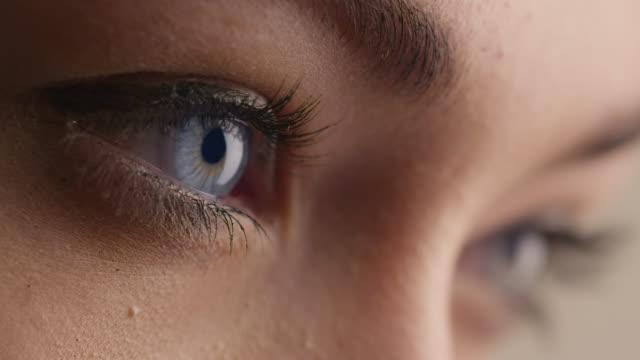 軽い日のメイクアップ女性青い目のクローズ アップ ショット。 - まつげ点の映像素材/bロール
