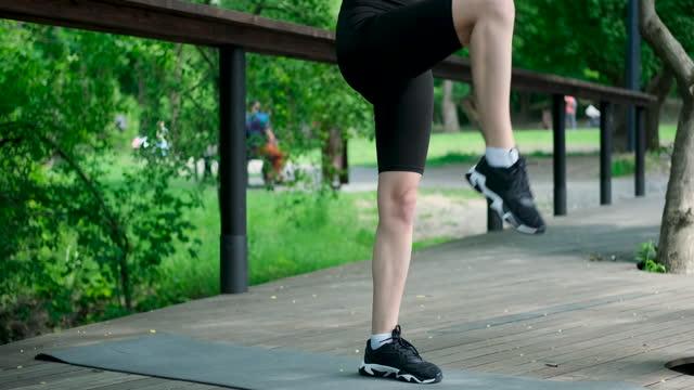 Close-up shot woman doing workout exercise