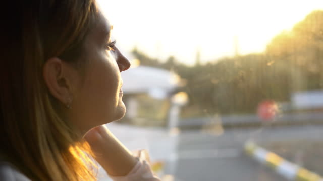 Close-up side view - young charming woman enjoying the view of beautiful nature on a sunny day Close-up side view - young charming woman enjoying the view of beautiful nature on a sunny day bus stock videos & royalty-free footage