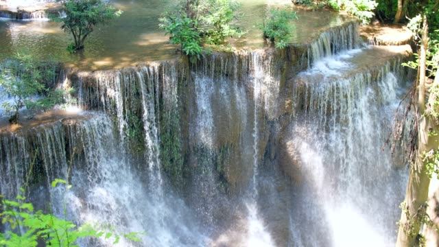 Close-up Stream of Waterfall, Huay Mae Khamin Waterfall, Thailand video