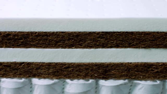 vídeos y material grabado en eventos de stock de textura de primer plano de espuma viscoelástica para la fabricación de colchones - colchón