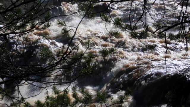 Close-up to Girvas waterfall in Karelia video