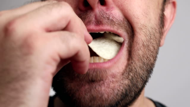 Closeup to man enjoy eating Closeup to man enjoy eating. tasting stock videos & royalty-free footage
