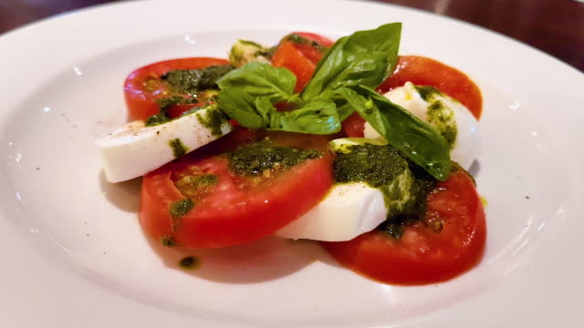 Closeup tomatoes with cheese