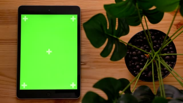 close-up top shot of upright tablet and hand touching green screen with wooden desk and plant on background. - posizione corretta video stock e b–roll