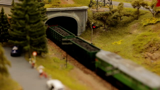 Close-up toy town train tunnel Close-up toy town train and tunnel hobbies stock videos & royalty-free footage