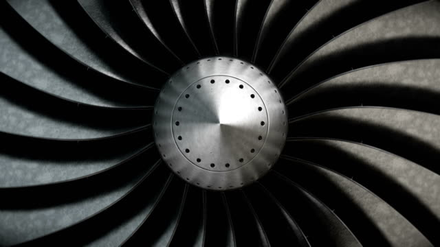 Close-up turbine engine front-end fan. video