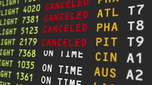 vídeos y material grabado en eventos de stock de vista de cerca del tablero de viaje aeropuerto con vuelos cancelados - volar