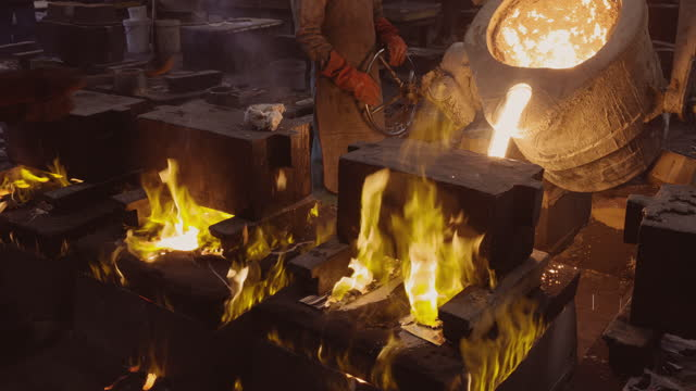 Close-up view of factory workers pouring molten metal into casts at a steel casting foundry A foundry is a factory that produces metal castings. Metals are cast into shapes by melting them into a liquid, pouring the metal into a mold, and removing the mold material after the metal has solidified as it cools. The most common metals processed are aluminium and cast iron steel mill stock videos & royalty-free footage