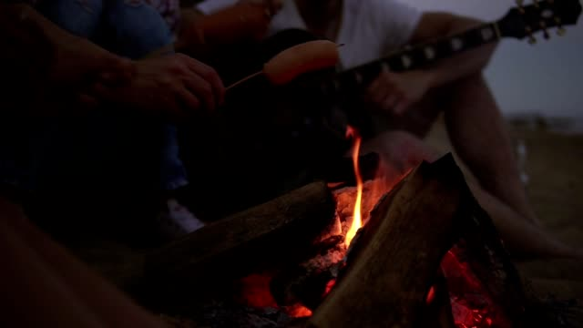 Closeup view of sausages grilled on the beach fire. Group of young and cheerful people sitting by the fire on the beach in the evening, grilling sausages and playing guitar. Slowmotion shot - video