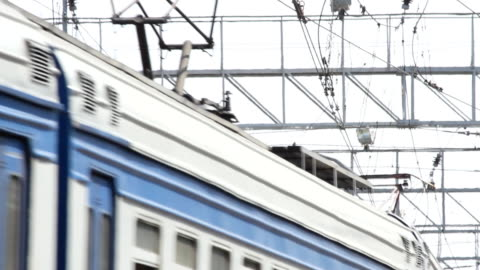 Russia.Moscow - 2013: Close-up view of the roof of the train video