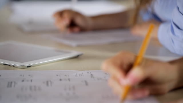 Close-up view of woman filling form video