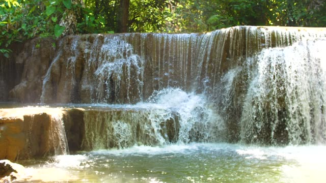 Close-up Waterfall Stream, Huay Mae Khamin Waterfall, Thailand video